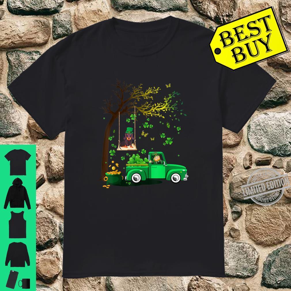 Cute Happy St Patrick's Day Dachshund And Truck Shamrock Shirt