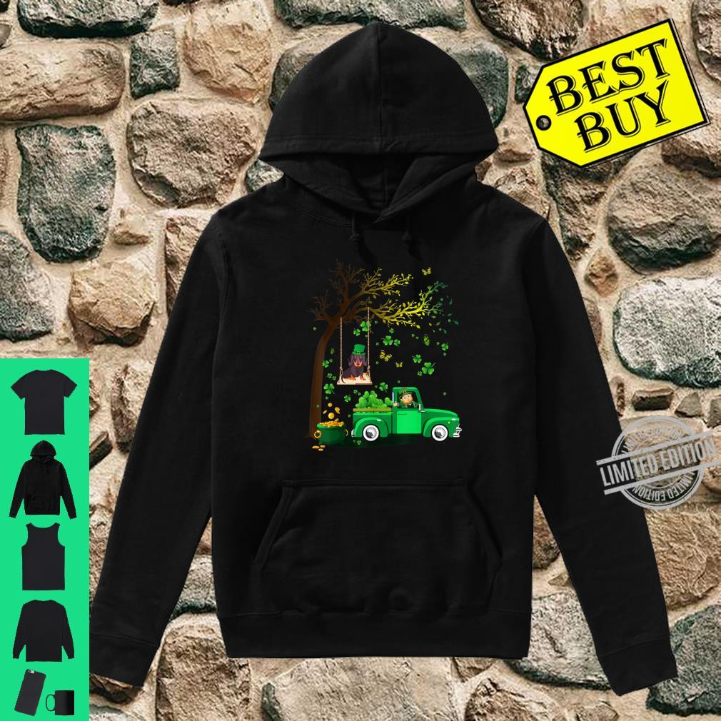 Cute Happy St Patrick's Day Dachshund And Truck Shamrock Shirt hoodie