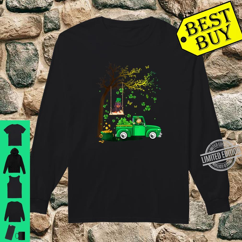 Cute Happy St Patrick's Day Dachshund And Truck Shamrock Shirt long sleeved