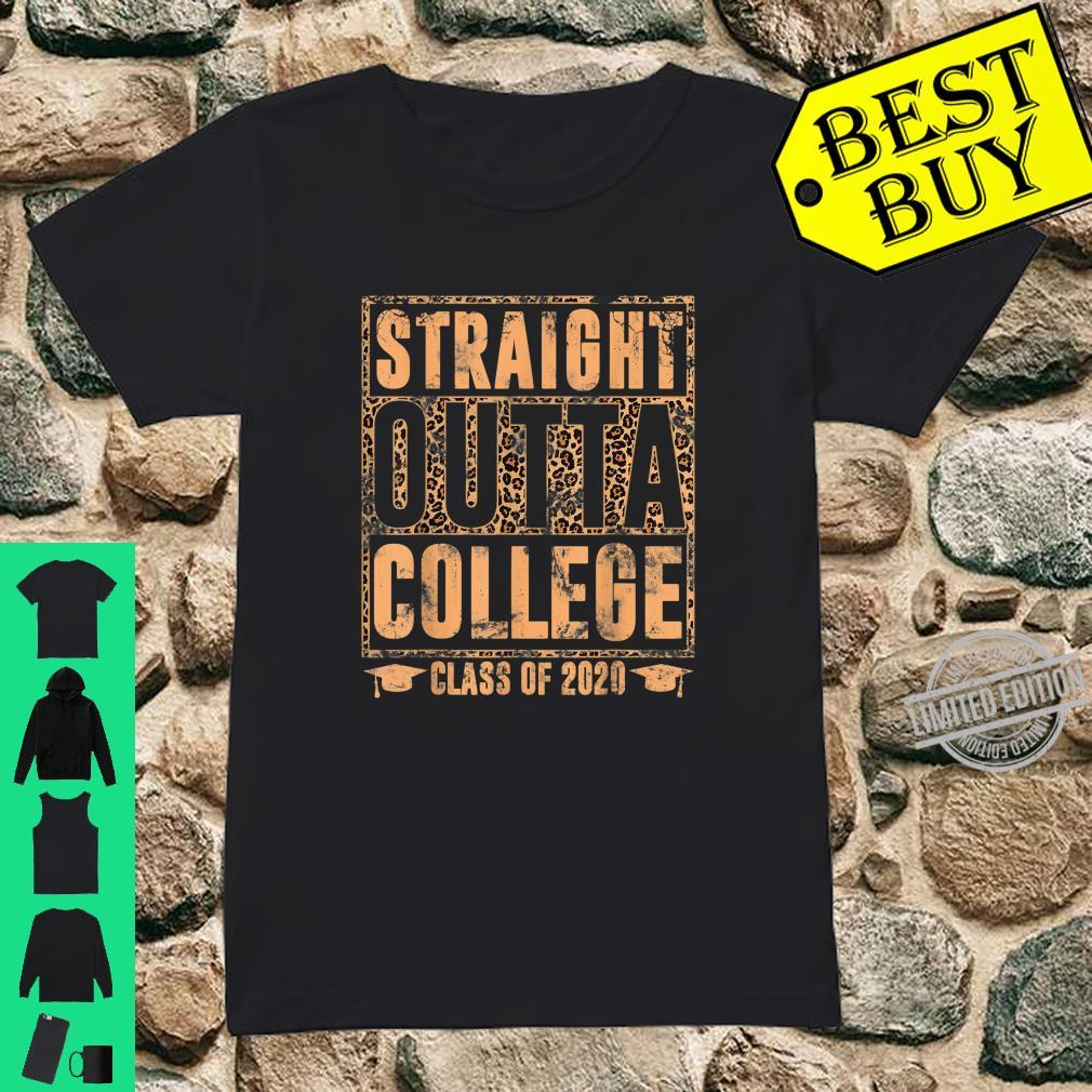 Straight Outta College Leopard Print Class of 2020 Graduate Shirt ladies tee