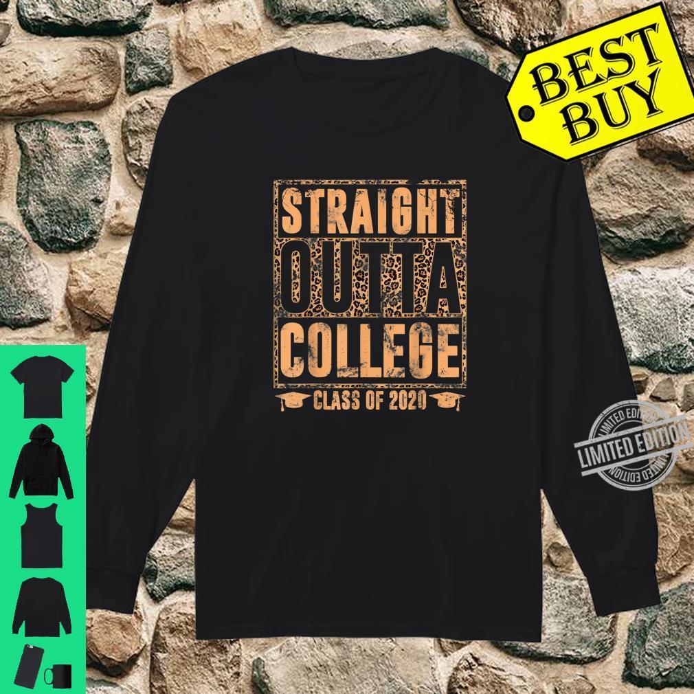 Straight Outta College Leopard Print Class of 2020 Graduate Shirt long sleeved